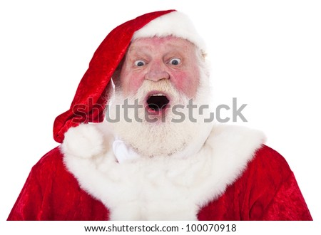 Santa Claus in authentic look with surprised expression. All on white background. - stock photo