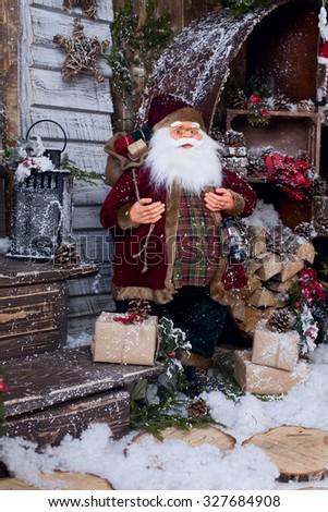 Santa-Claus in decor - stock photo