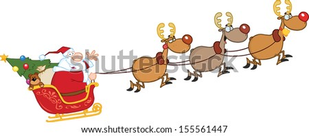 Santa Claus In Flight With His Reindeer And Sleigh. Raster Illustration