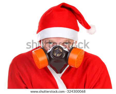 Santa Claus in Gas Mask Isolated on the White Background