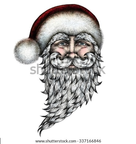 santa claus ink pen drawing hand drawn graphic illustration mixed technique colored image - White Santa Claus