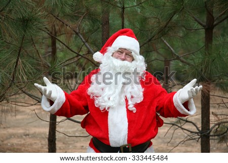 Santa Claus inspects his Christmas Trees at his Christmas Tree Farm - stock photo