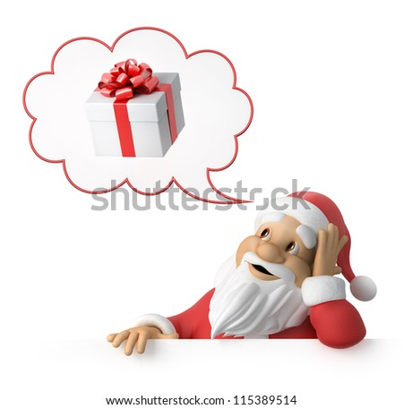 Santa Claus is dreaming about presents, 3d image with work-path