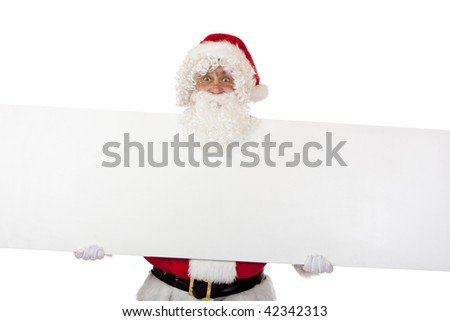 Santa Claus is holding a special offer board in his hands and smiles. Isolated on white. - stock photo