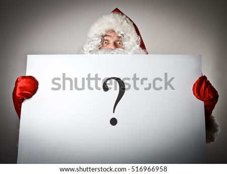 Santa Claus is holding white paper with question-mark.