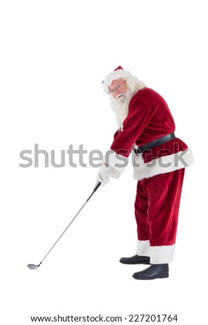 Santa Claus is playing golf on a white background - stock photo