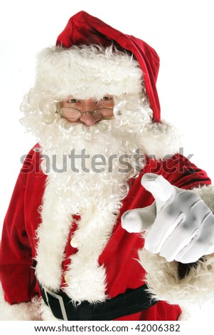 Santa claus is pointing - stock photo