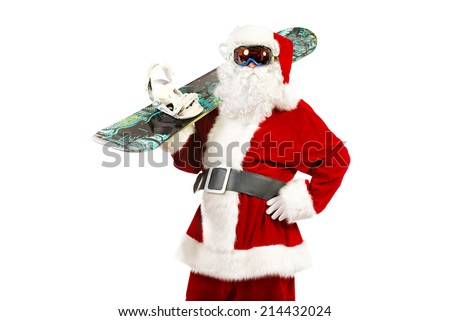 Santa Claus is standing in the ski mask and holding a snowboard. Christmas. Isolated over white. - stock photo