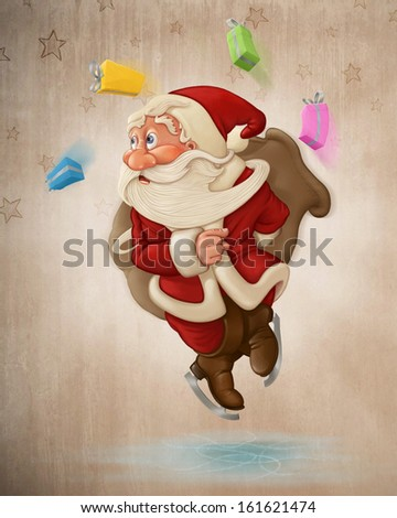 Santa Claus jumping on ice with ice-skates - stock photo