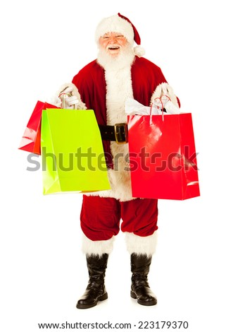 Santa Claus: Just Back From Doing Christmas Shopping - stock photo