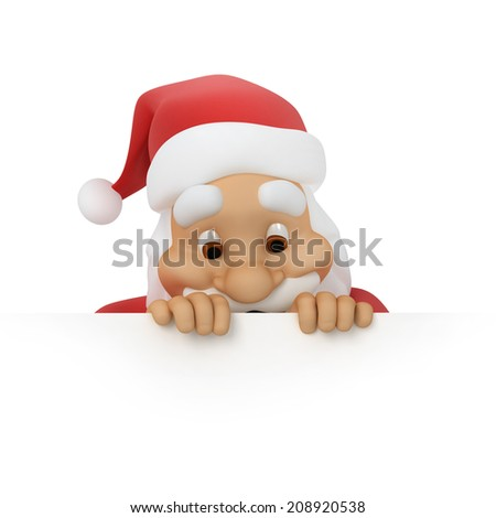 Santa Claus looks out of paper, work-path  - stock photo