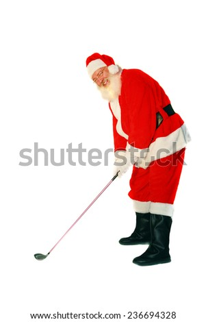 Santa Claus LOVES the game of Golf. Here is a Santa Joke for you to enjoy. Q. What is Santa's Favorite Golf Score? A. A HO HO HOLE IN ONE. Merry Christmas to all from Mike Ledray Stock Photographer. - stock photo
