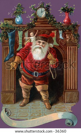 Santa Claus makes his entrance - an early 1900s vintage illustration.