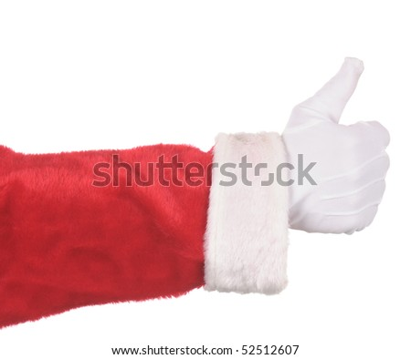 Santa Claus making thumbs up gesture isolated over white. Hand and arm only in horizontal format.