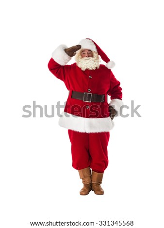 Santa Claus military respect and ready to serve Full Length Portrait. Isolated on White Background - stock photo
