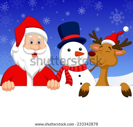 Santa Claus, nosed reindeer and snowman with blank sign - stock photo