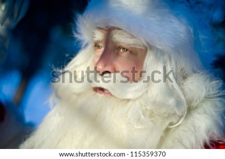 Santa Claus on a blue background - stock photo