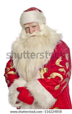 Santa Claus on a white background folded hands