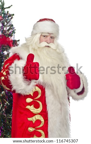 Santa Claus on a white background with a Christmas tree welcomes
