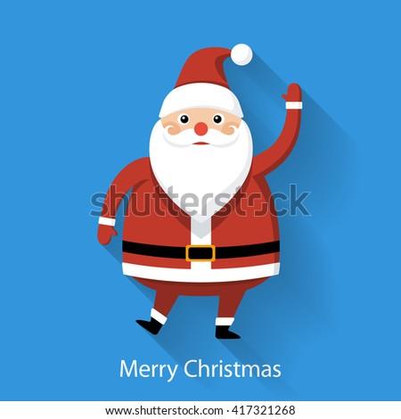 Santa Claus on blue background, flat style graphics, illustration - stock photo