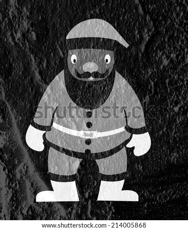 Santa Claus on Cement wall Background texture