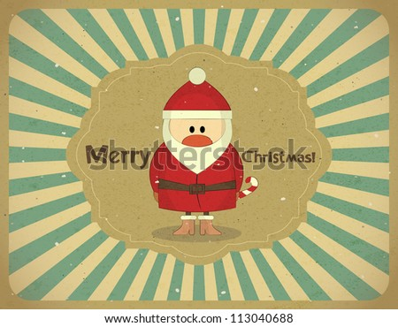 Santa Claus on grunge background, Merry Christmas postcard in Retro style - JPEG version - stock photo