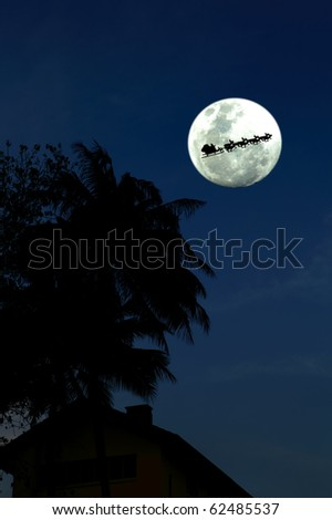 Santa Claus on his reindeer sleigh arriving at night to a tropical paradise for Christmas. - stock photo