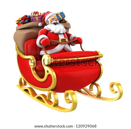 Santa Claus on sleigh with presents - stock photo