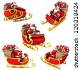 Santa Claus on sleigh with presents - various views - stock vector