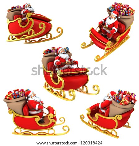 Santa Claus on sleigh with presents - various views - stock photo