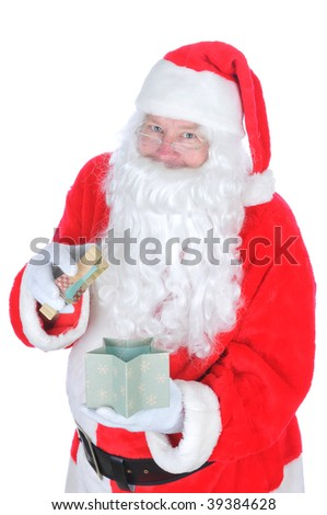 Santa Claus Opening a Gift Box, isolated on white, facing camera, vertical composition