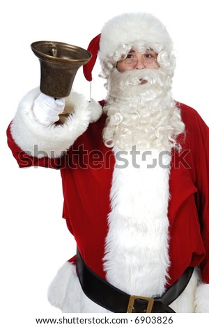 Santa Claus pealing a bell over white background