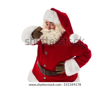 Santa Claus pointing at you Closeup Portrait. Isolated on White Background - stock photo