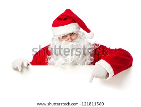 Santa Claus pointing in blank advertisement banner isolated on white background with copy space - stock photo