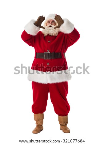 Santa Claus Portrait. Calling for someone - stock photo