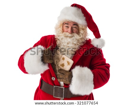 Santa Claus Portrait. Getting out concealed gift box from bosom - stock photo