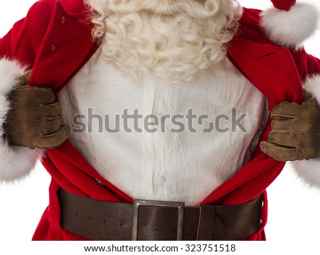 Santa Claus Portrait in a classic superman pose tearing his shirt open as a copyspace Isolated on White Background - stock photo