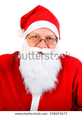 Santa Claus Portrait Isolated on the White Background