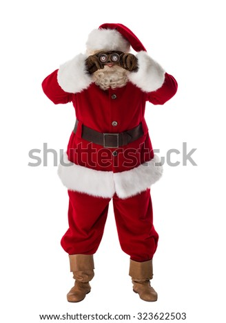 Santa Claus Portrait looking through binoculars Isolated on White Background