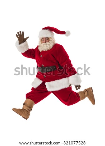 Santa Claus Portrait. Running fast. Side view - stock photo