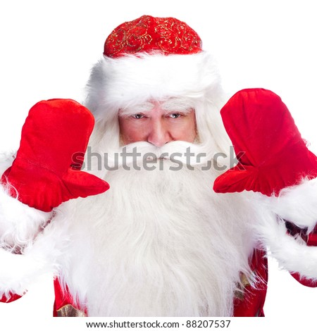 Santa Claus portrait smiling isolated over a white background