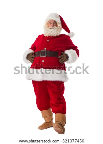 Santa Claus Portrait. Standing and smiling Front View - stock photo