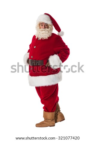 Santa Claus Portrait. Standing still and posing. Side view - stock photo