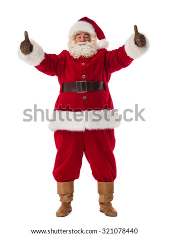 Santa Claus Portrait. Thumbs up and smiling - stock photo