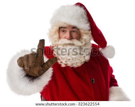 Santa Claus Portrait working with virtual interface Isolated on White Background