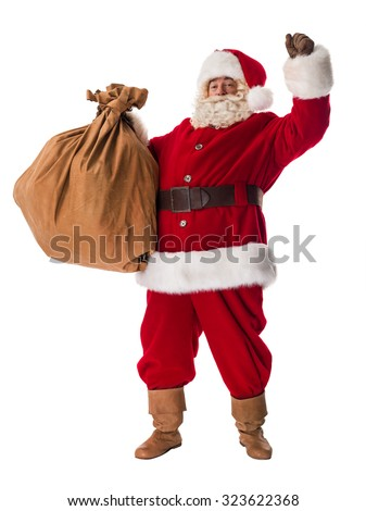 Santa Claus posing with bag Portrait Isolated on White Background - stock photo