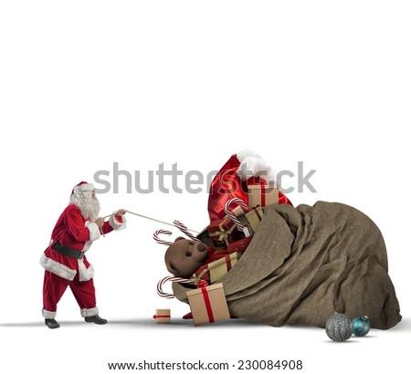 Santa claus pull a beautiful big gift bag - stock photo