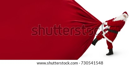 Santa Claus pulling huge bag of gifts that can be easily changed into a banner isolated on white background with copy space