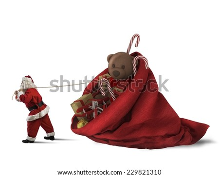 Santa Claus pulls a big sack of presents - stock photo