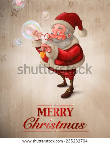 Santa Claus put the gift box in to the soap bubbles Greeting card - stock photo